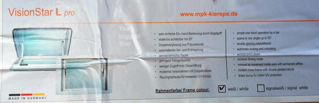 MPK Visionstar L pro Dachhaube Dachluke Dachfenster